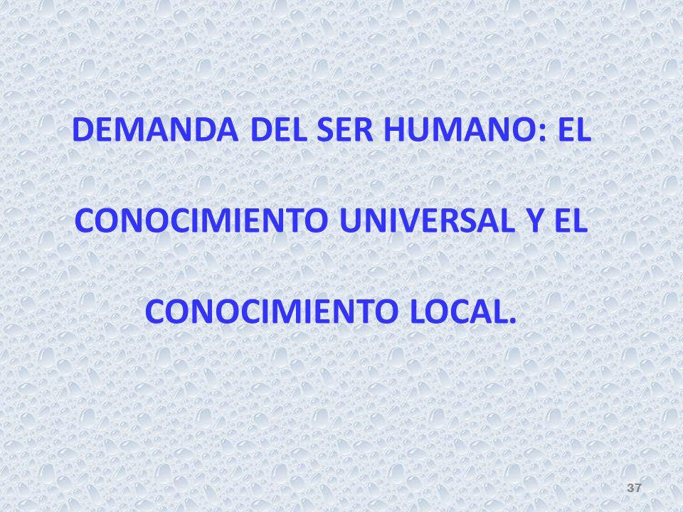 DEMANDA DEL SER HUMANO: EL CONOCIMIENTO UNIVERSAL Y EL CONOCIMIENTO LOCAL. 37