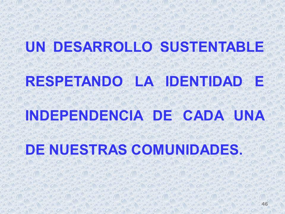 UN DESARROLLO SUSTENTABLE RESPETANDO LA IDENTIDAD E INDEPENDENCIA DE CADA UNA DE NUESTRAS COMUNIDADES.