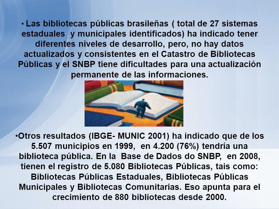 Las bibliotecas públicas brasileñas ( total de 27 sistemas estaduales y municipales identificados) ha indicado tener diferentes niveles de desarrollo, pero, no hay datos actualizados y consistentes en el Catastro de Bibliotecas Públicas y el SNBP tiene dificultades para una actualización permanente de las informaciones.