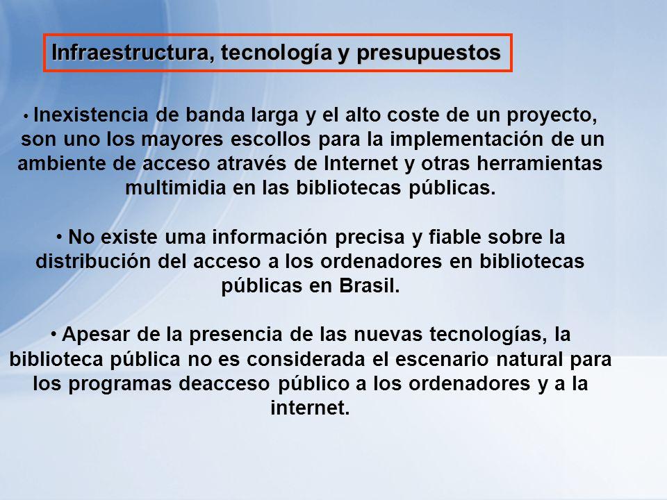 Infraestructura, tecnología y presupuestos Inexistencia de banda larga y el alto coste de un proyecto, son uno los mayores escollos para la implementación de un ambiente de acceso através de Internet y otras herramientas multimidia en las bibliotecas públicas.