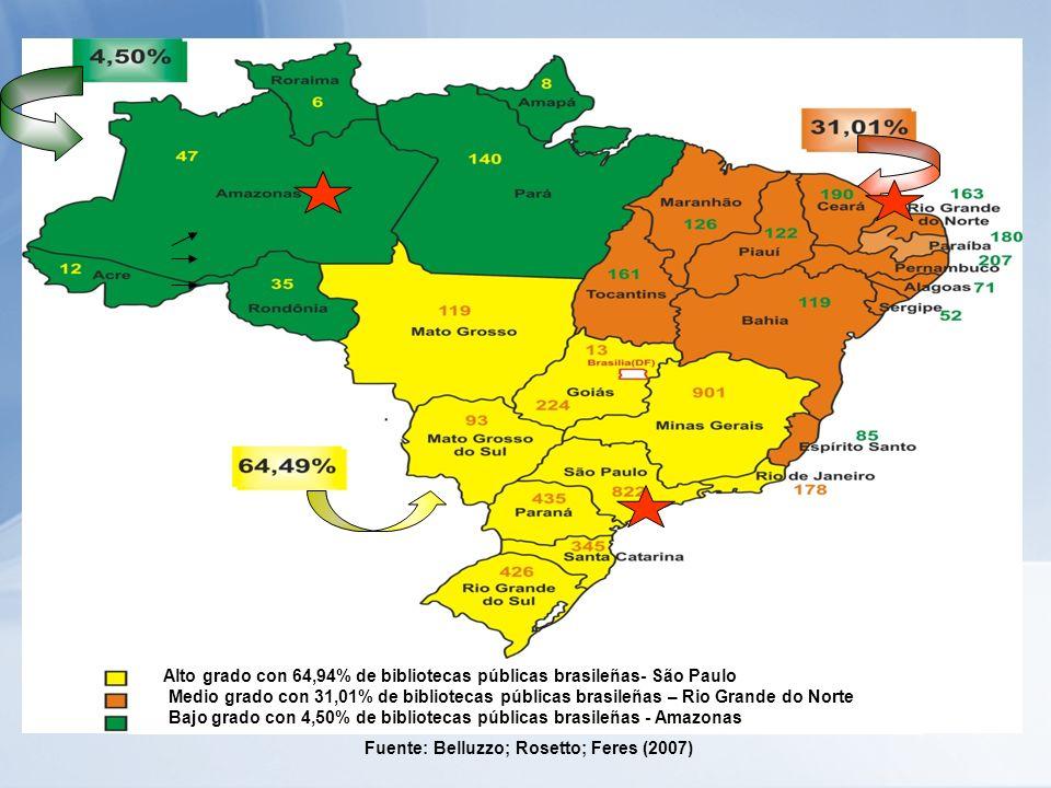 Alto grado con 64,94% de bibliotecas públicas brasileñas- São Paulo Medio grado con 31,01% de bibliotecas públicas brasileñas – Rio Grande do Norte Bajo grado con 4,50% de bibliotecas públicas brasileñas - Amazonas Fuente: Belluzzo; Rosetto; Feres (2007)