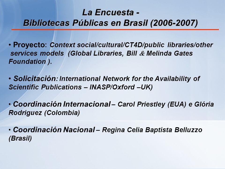 Recomendaciones ante el resultados de la investigación Para el desarrollo de un proyecto destinado a bibliotecas públicas es importante reflexionar en primer lugar sobre la grande extensión geográfica, la demografia y los recursos disponibles que componen el contexto brasileño.
