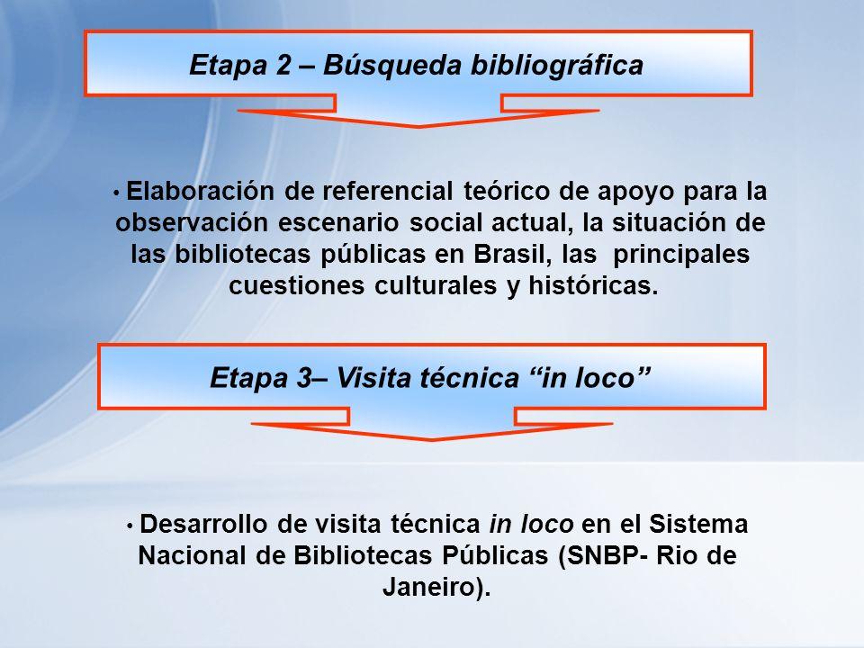 Etapa 2 – Búsqueda bibliográfica Elaboración de referencial teórico de apoyo para la observación escenario social actual, la situación de las bibliotecas públicas en Brasil, las principales cuestiones culturales y históricas.