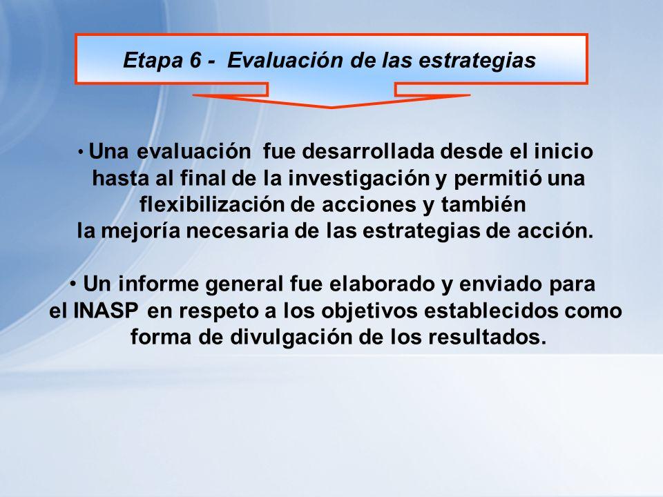 Etapa 6 - Evaluación de las estrategias Una evaluación fue desarrollada desde el inicio hasta al final de la investigación y permitió una flexibilización de acciones y también la mejoría necesaria de las estrategias de acción.