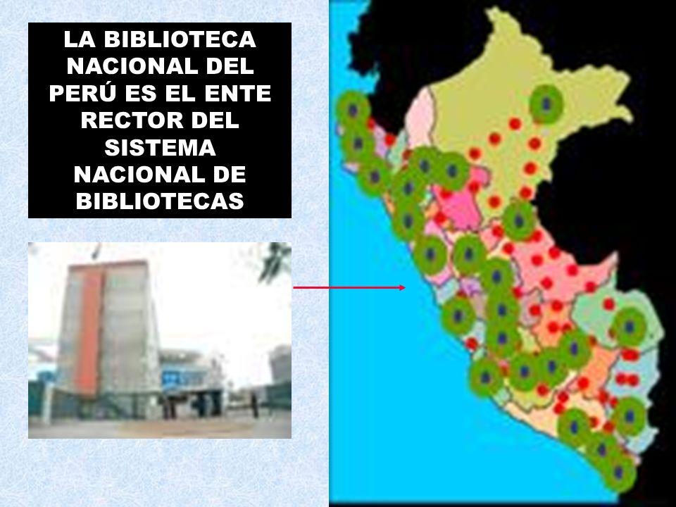 EL SISTEMA NACIONAL DE BIBLIOTECAS Conjunto de Bibliotecas y Centros de Documentación e Información, que se organizan, articulan e interactúan a nivel nacional, con el fin de poner a disposición de la población sus recursos y servicios, aplicando principios, normas, técnicas, y procesos bibliotecológicos comunes