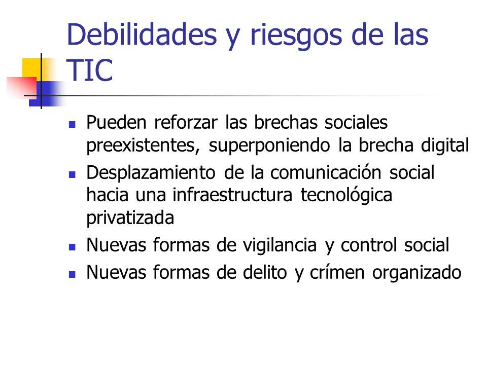 Debilidades y riesgos de las TIC Pueden reforzar las brechas sociales preexistentes, superponiendo la brecha digital Desplazamiento de la comunicación social hacia una infraestructura tecnológica privatizada Nuevas formas de vigilancia y control social Nuevas formas de delito y crímen organizado