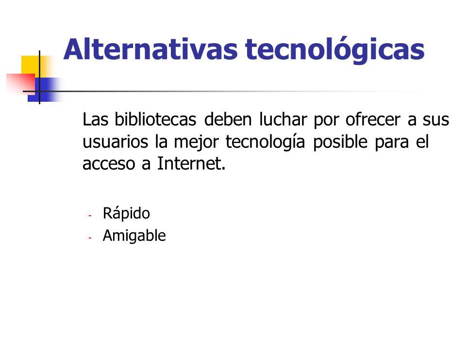 Alternativas tecnológicas Las bibliotecas deben luchar por ofrecer a sus usuarios la mejor tecnología posible para el acceso a Internet. - Rápido - Am