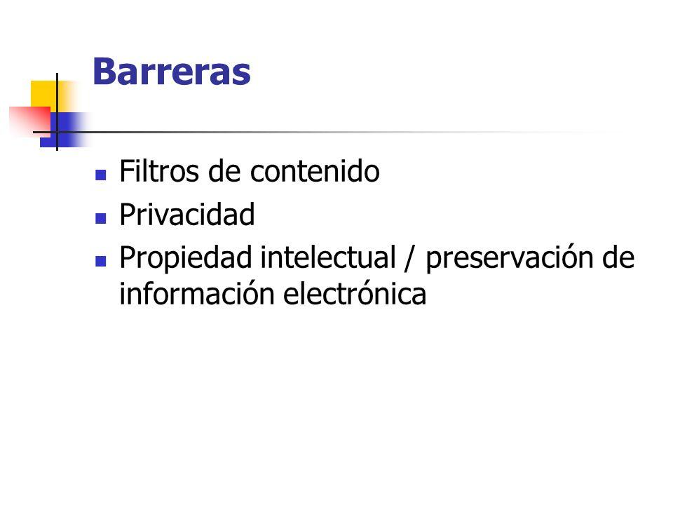 Barreras Filtros de contenido Privacidad Propiedad intelectual / preservación de información electrónica
