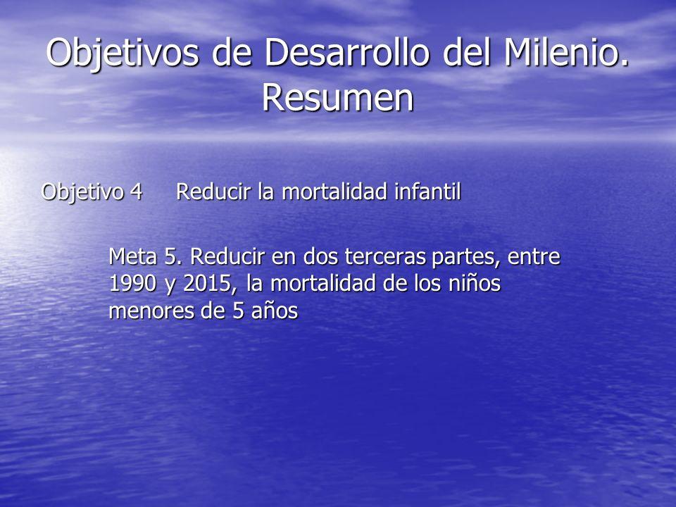 Objetivos de Desarrollo del Milenio. Resumen Objetivo 4Reducir la mortalidad infantil Meta 5. Reducir en dos terceras partes, entre 1990 y 2015, la mo