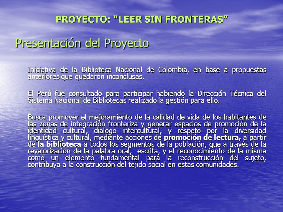 Presentación del Proyecto Iniciativa de la Biblioteca Nacional de Colombia, en base a propuestas anteriores que quedaron inconclusas. El Perú fue cons