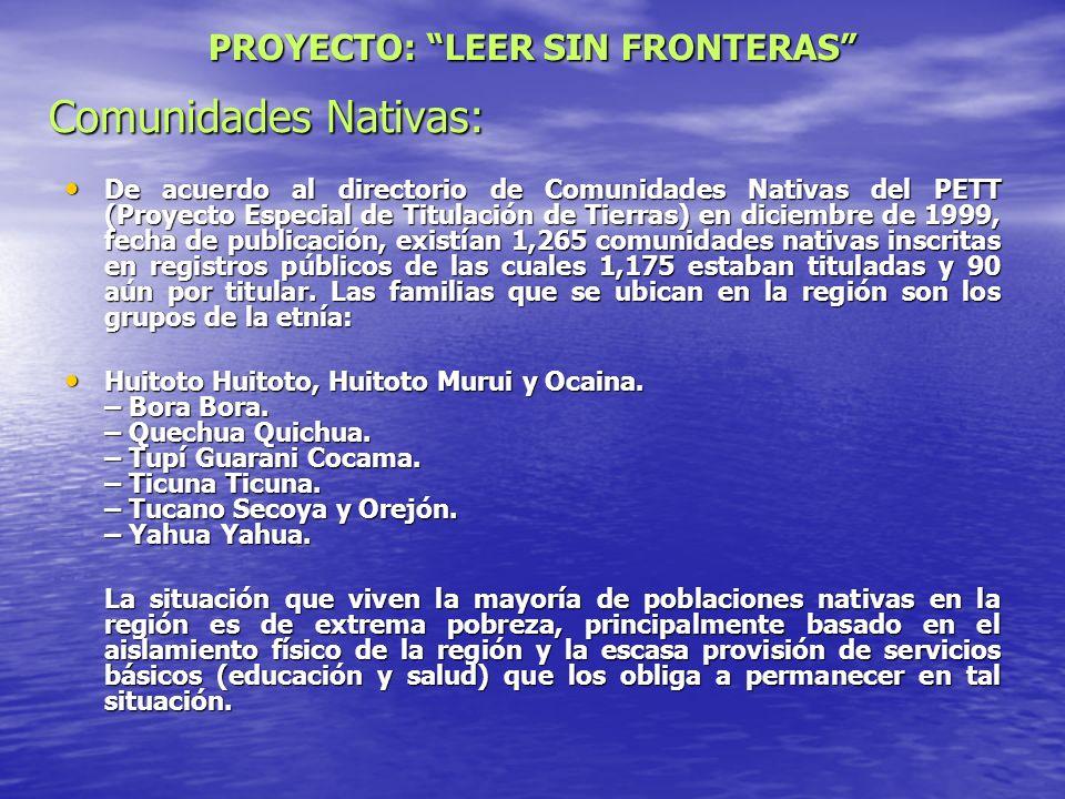 Comunidades Nativas: De acuerdo al directorio de Comunidades Nativas del PETT (Proyecto Especial de Titulación de Tierras) en diciembre de 1999, fecha