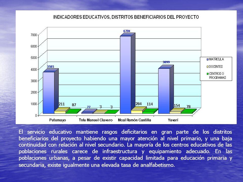 El servicio educativo mantiene rasgos deficitarios en gran parte de los distritos beneficiarios del proyecto habiendo una mayor atención al nivel prim