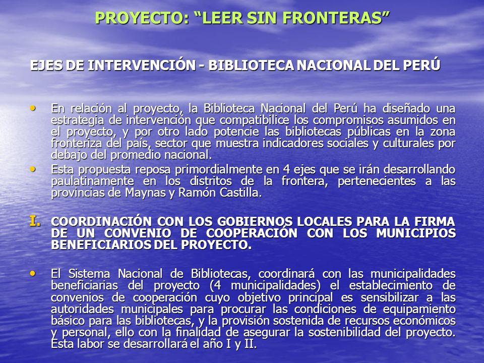 EJES DE INTERVENCIÓN - BIBLIOTECA NACIONAL DEL PERÚ En relación al proyecto, la Biblioteca Nacional del Perú ha diseñado una estrategia de intervenció
