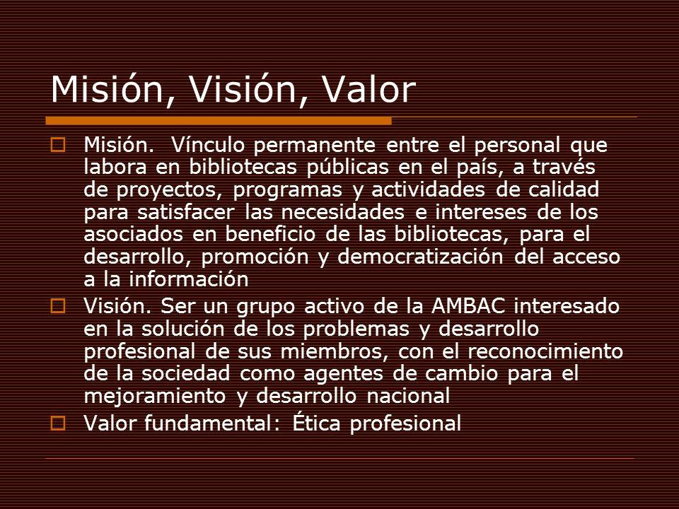 Misión, Visión, Valor Misión. Vínculo permanente entre el personal que labora en bibliotecas públicas en el país, a través de proyectos, programas y a