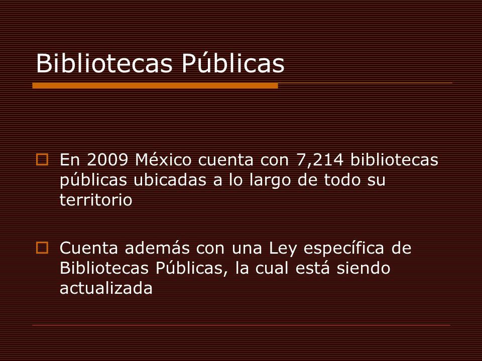 Bibliotecas Públicas En 2009 México cuenta con 7,214 bibliotecas públicas ubicadas a lo largo de todo su territorio Cuenta además con una Ley específica de Bibliotecas Públicas, la cual está siendo actualizada