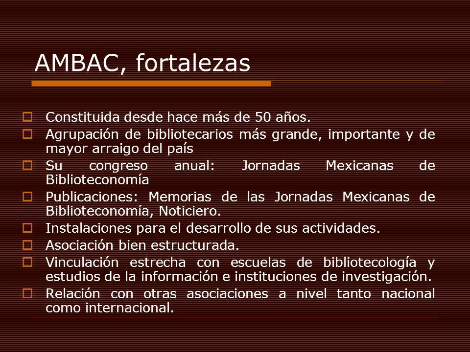 AMBAC, fortalezas Constituida desde hace más de 50 años. Agrupación de bibliotecarios más grande, importante y de mayor arraigo del país Su congreso a
