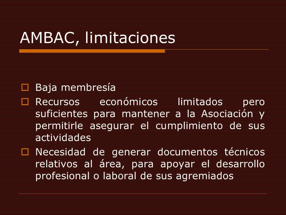 AMBAC, limitaciones Baja membresía Recursos económicos limitados pero suficientes para mantener a la Asociación y permitirle asegurar el cumplimiento de sus actividades Necesidad de generar documentos técnicos relativos al área, para apoyar el desarrollo profesional o laboral de sus agremiados