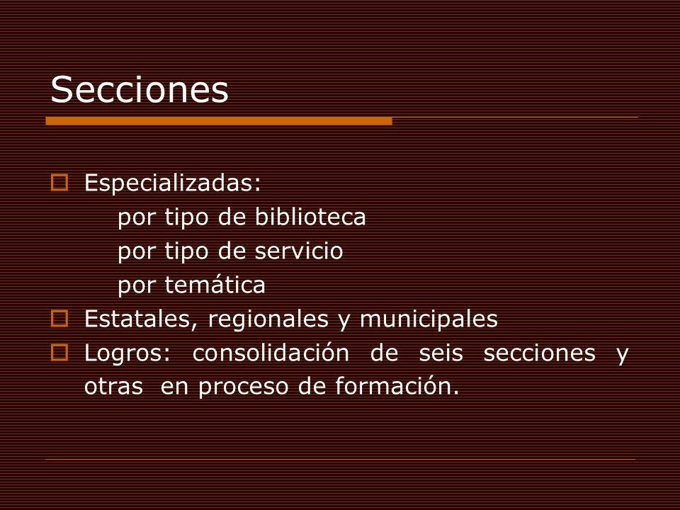 Secciones Especializadas: por tipo de biblioteca por tipo de servicio por temática Estatales, regionales y municipales Logros: consolidación de seis s