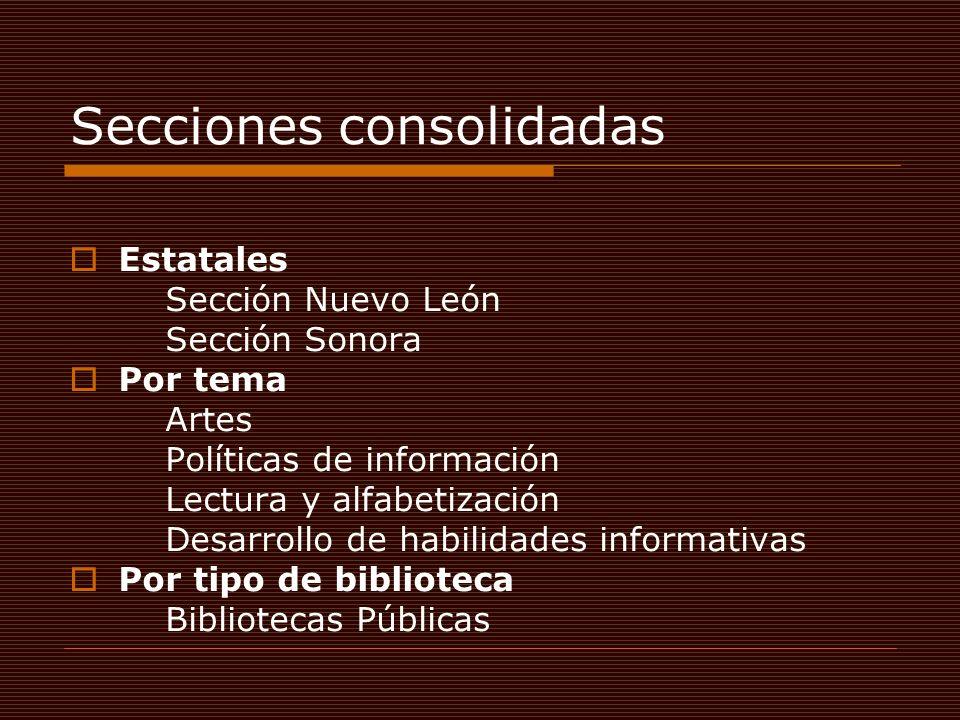 Secciones consolidadas Estatales Sección Nuevo León Sección Sonora Por tema Artes Políticas de información Lectura y alfabetización Desarrollo de habi