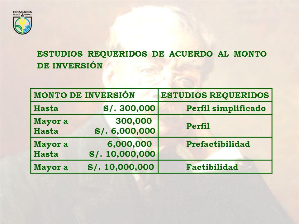 ESTUDIOS REQUERIDOS DE ACUERDO AL MONTO DE INVERSIÓN MONTO DE INVERSIÓNESTUDIOS REQUERIDOS Hasta S/. 300,000 Perfil simplificado Mayor a 300,000 Hasta