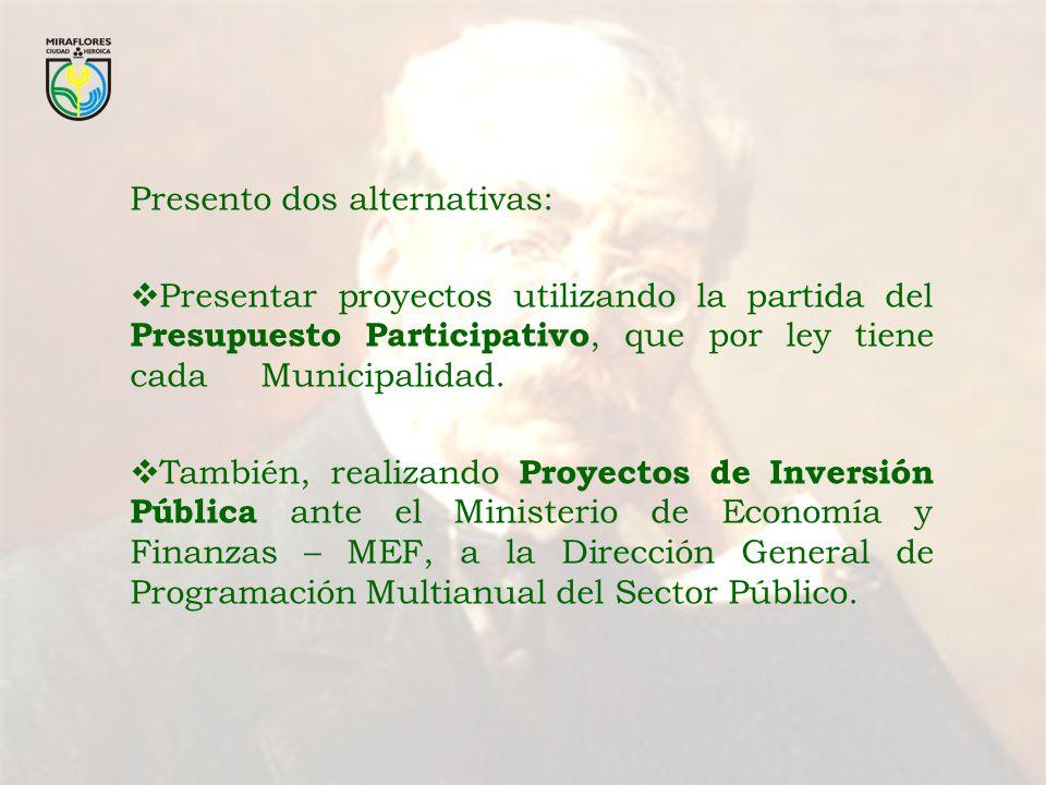Presento dos alternativas: Presentar proyectos utilizando la partida del Presupuesto Participativo, que por ley tiene cada Municipalidad. También, rea