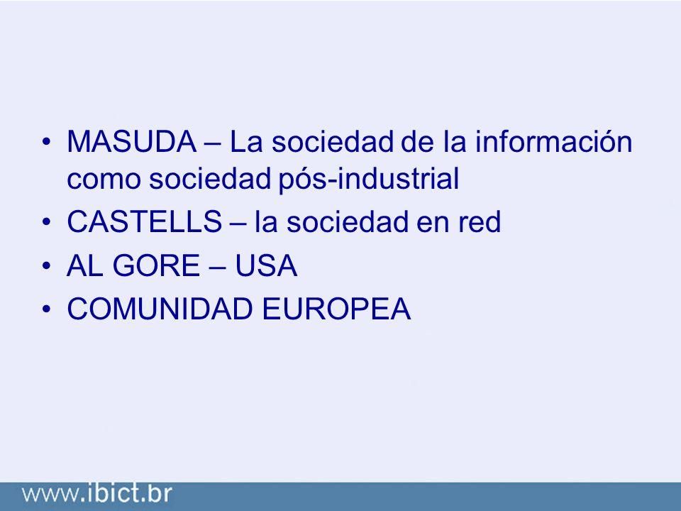 MASUDA – La sociedad de la información como sociedad pós-industrial CASTELLS – la sociedad en red AL GORE – USA COMUNIDAD EUROPEA