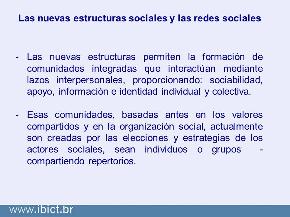 Las nuevas estructuras sociales y las redes sociales -Las nuevas estructuras permiten la formación de comunidades integradas que interactúan mediante lazos interpersonales, proporcionando: sociabilidad, apoyo, información e identidad individual y colectiva.