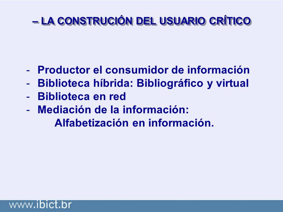 – LA CONSTRUCIÓN DEL USUARIO CRÍTICO -Productor el consumidor de información -Biblioteca híbrida: Bibliográfico y virtual -Biblioteca en red -Mediación de la información: Alfabetización en información.