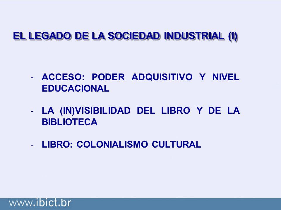 EL LEGADO DE LA SOCIEDAD INDUSTRIAL (I) -ACCESO: PODER ADQUISITIVO Y NIVEL EDUCACIONAL -LA (IN)VISIBILIDAD DEL LIBRO Y DE LA BIBLIOTECA -LIBRO: COLONIALISMO CULTURAL