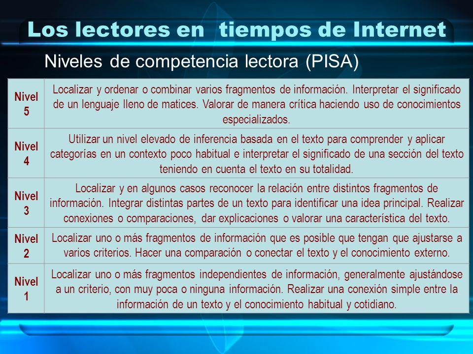 Los lectores en tiempos de Internet Niveles de competencia lectora (PISA) Nivel 5 Localizar y ordenar o combinar varios fragmentos de información. Int