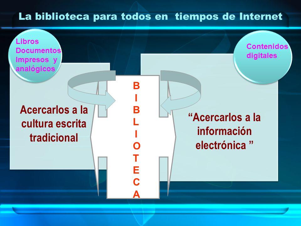 La biblioteca para todos en tiempos de Internet Acercarlos a la cultura escrita tradicional Acercarlos a la información electrónica BIBLIOTECABIBLIOTE