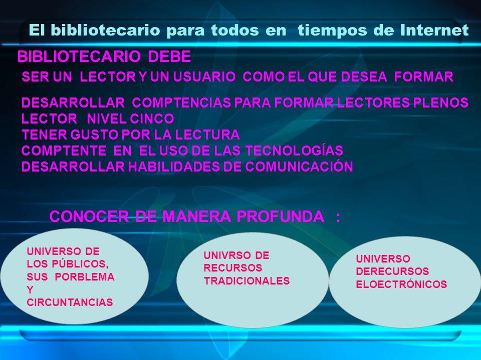 El bibliotecario para todos en tiempos de Internet UNIVERSO DE LOS PÚBLICOS, SUS PORBLEMA Y CIRCUNTANCIAS UNIVRSO DE RECURSOS TRADICIONALES UNIVERSO D