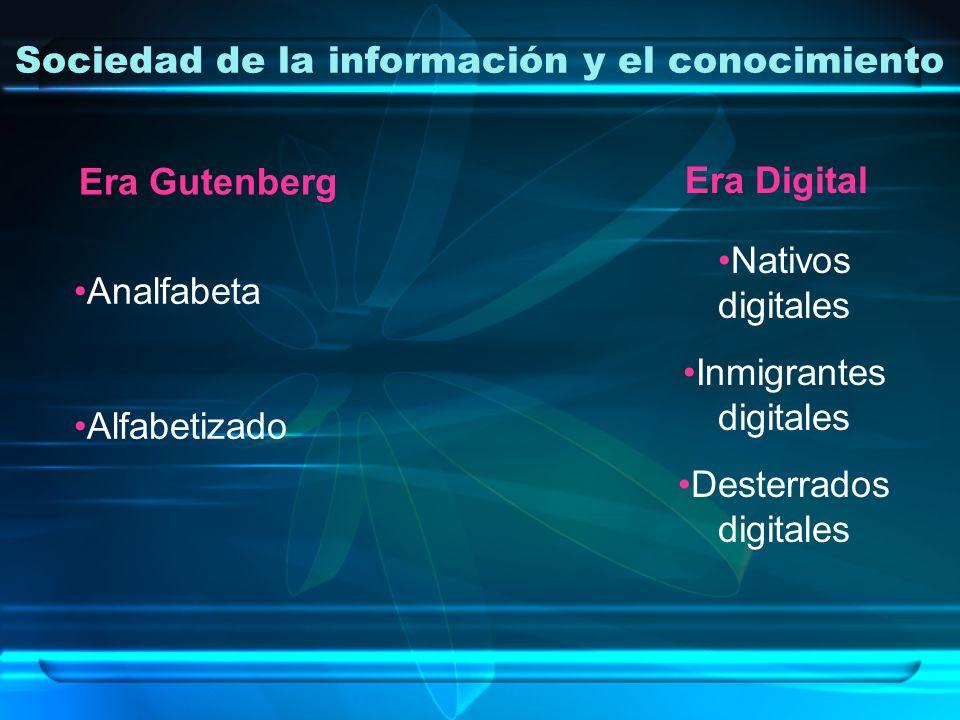 Sociedad de la información y el conocimiento Era Gutenberg Analfabeta Alfabetizado Era Digital Nativos digitales Inmigrantes digitales Desterrados dig