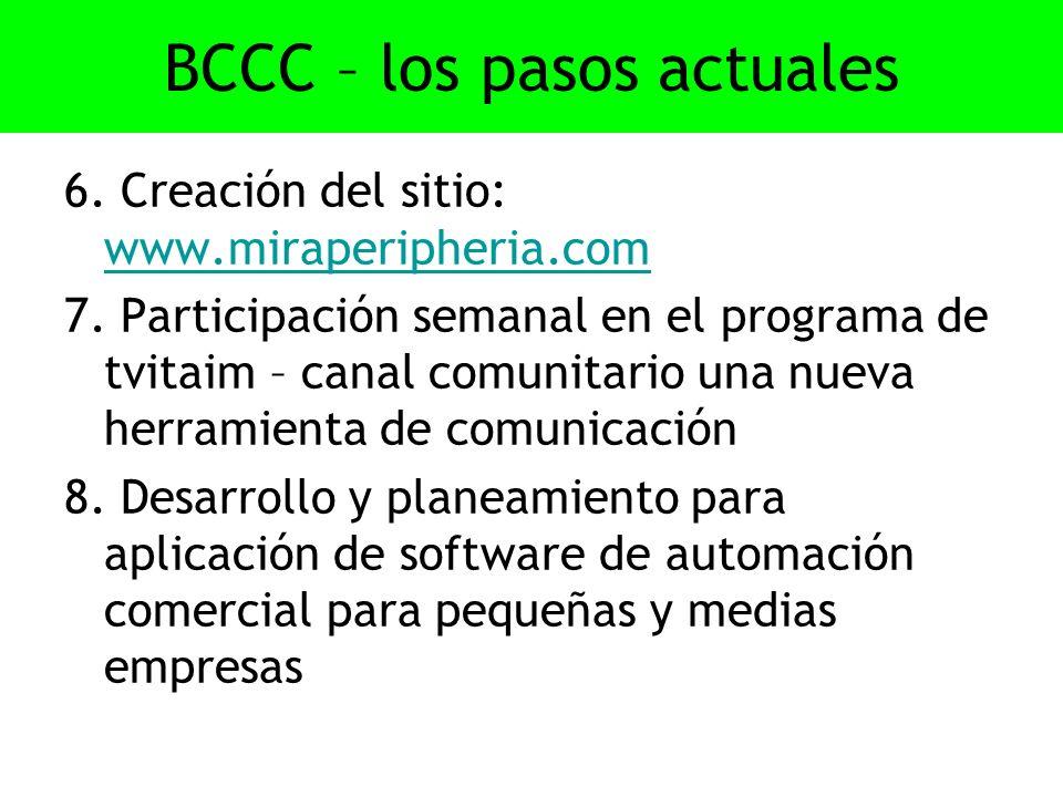 BCCC – los pasos actuales 6. Creación del sitio: www.miraperipheria.com www.miraperipheria.com 7.