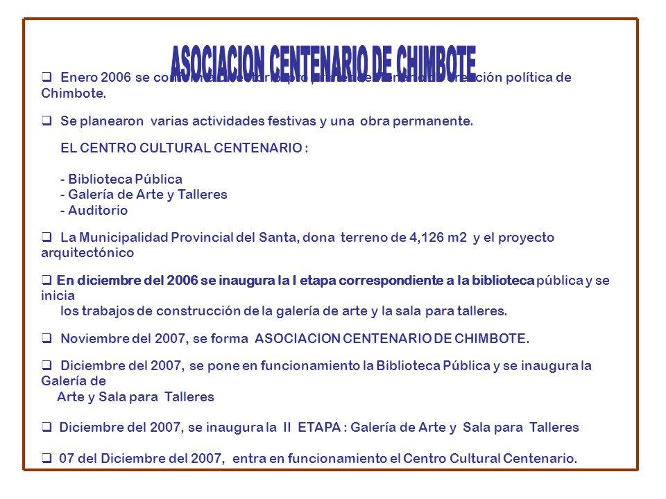 Enero 2006 se conforma Directorio pro primer centenario de creación política de Chimbote.