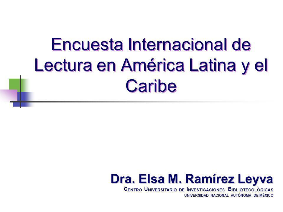 Dra. Elsa M. Ramírez Leyva C ENTRO U NIVERSITARIO DE I NVESTIGACIONES B IBLIOTECOLÓGICAS UNIVERSIDAD NACIONAL AUTÓNOMA DE MÉXICO Encuesta Internaciona