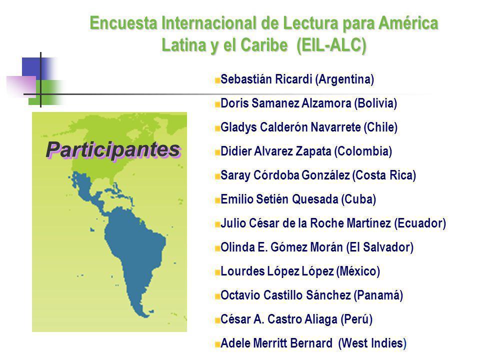 Sebastián Ricardi (Argentina) Doris Samanez Alzamora (Bolivia) Gladys Calderón Navarrete (Chile) Didier Alvarez Zapata (Colombia) Saray Córdoba Gonzál