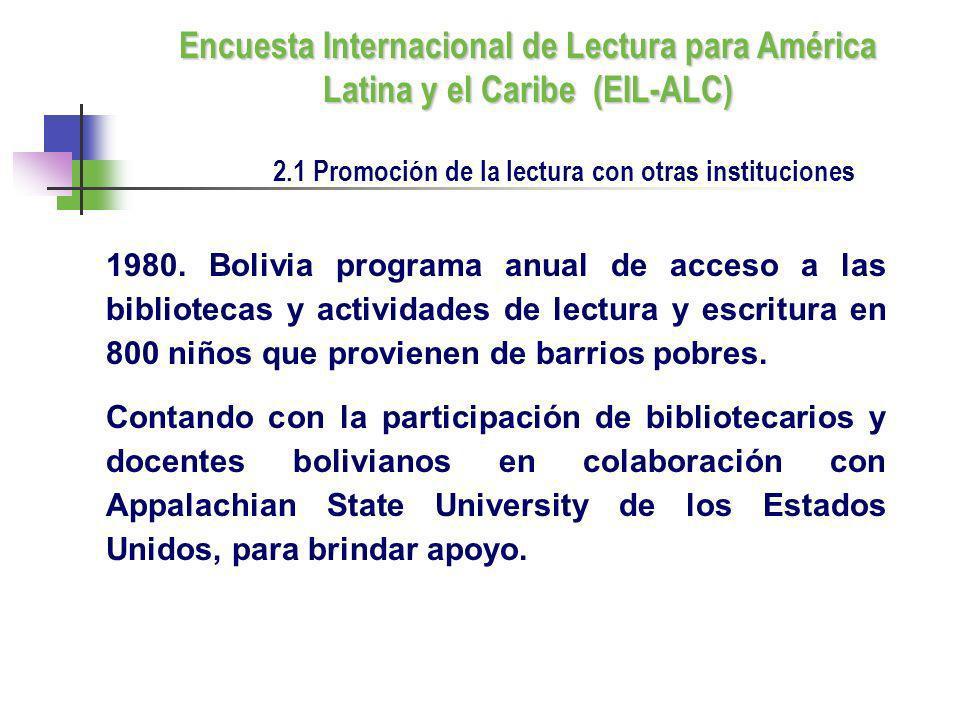 1980. Bolivia programa anual de acceso a las bibliotecas y actividades de lectura y escritura en 800 niños que provienen de barrios pobres. Contando c