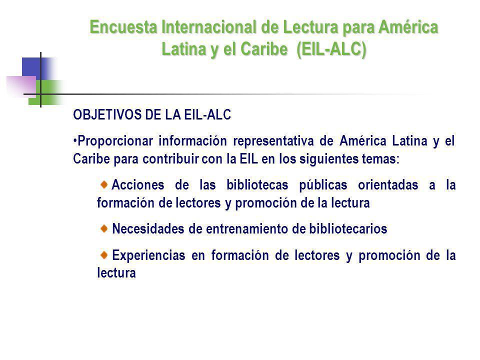 OBJETIVOS DE LA EIL-ALC Proporcionar información representativa de América Latina y el Caribe para contribuir con la EIL en los siguientes temas: Acci