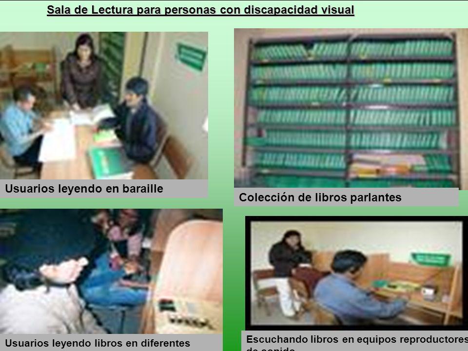 Sala de Lectura para personas con discapacidad visual Usuarios leyendo libros en diferentes soportes Colección de libros parlantes Escuchando libros e