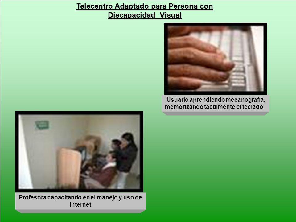 Telecentro Adaptado para Persona con Discapacidad Visual Profesora capacitando en el manejo y uso de Internet Usuario aprendiendo mecanografía, memori