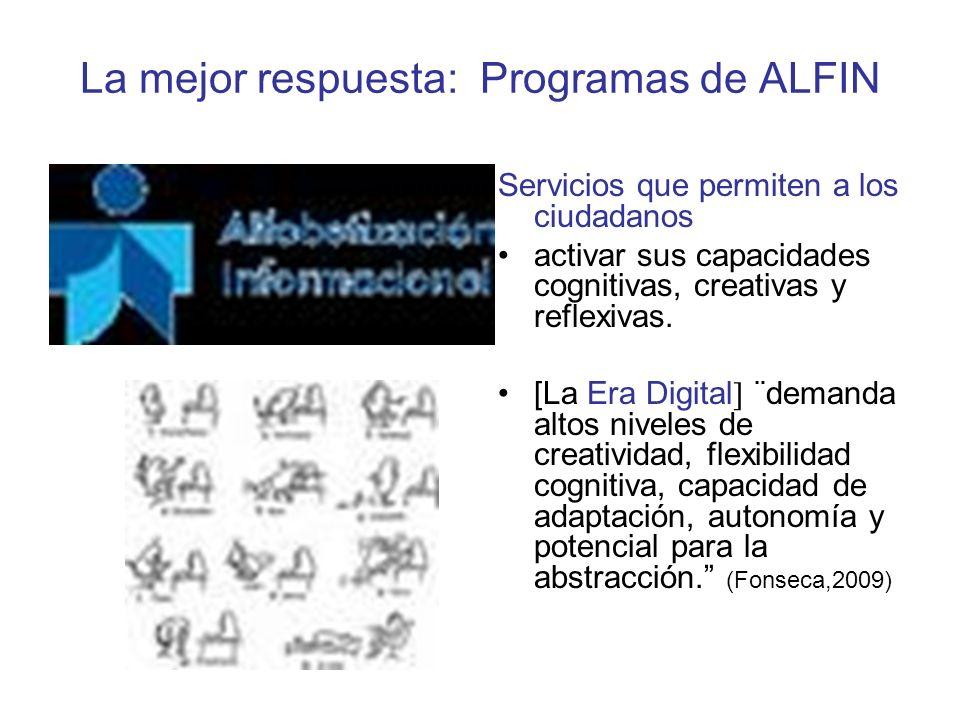 La mejor respuesta: Programas de ALFIN Servicios que permiten a los ciudadanos activar sus capacidades cognitivas, creativas y reflexivas.