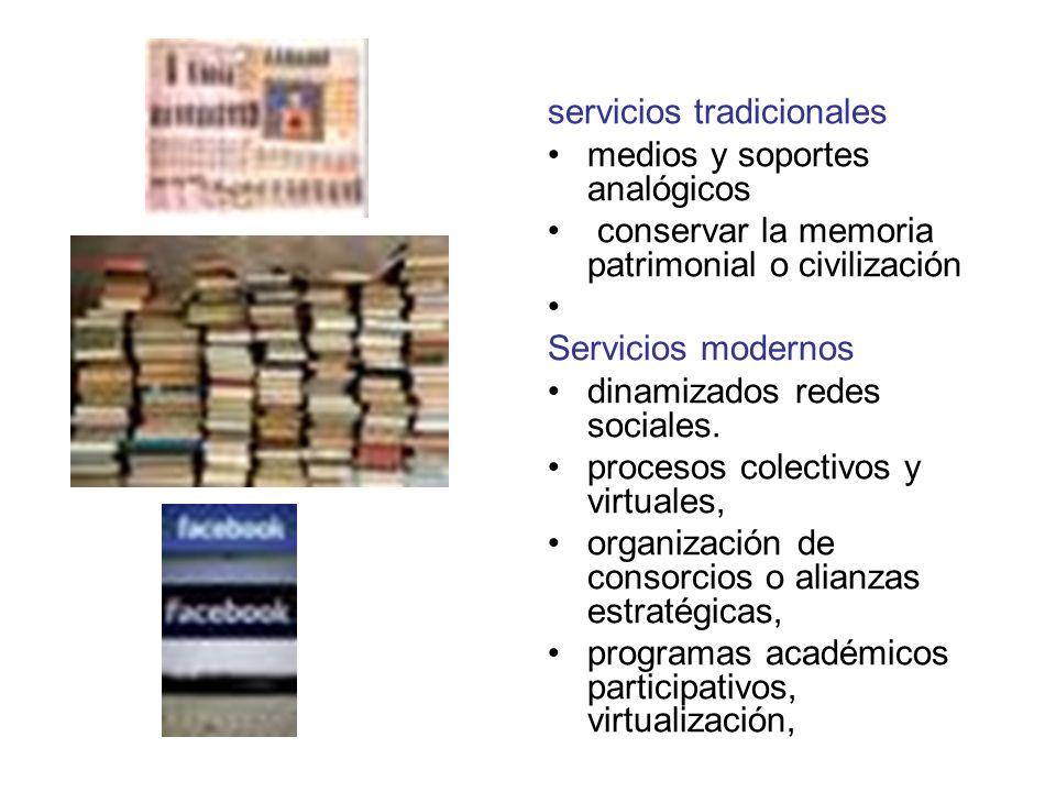 servicios tradicionales medios y soportes analógicos conservar la memoria patrimonial o civilización Servicios modernos dinamizados redes sociales.