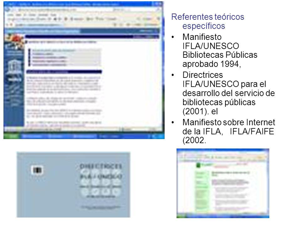 Referentes teóricos específicos Manifiesto IFLA/UNESCO Bibliotecas Públicas aprobado 1994, Directrices IFLA/UNESCO para el desarrollo del servicio de bibliotecas públicas (2001).