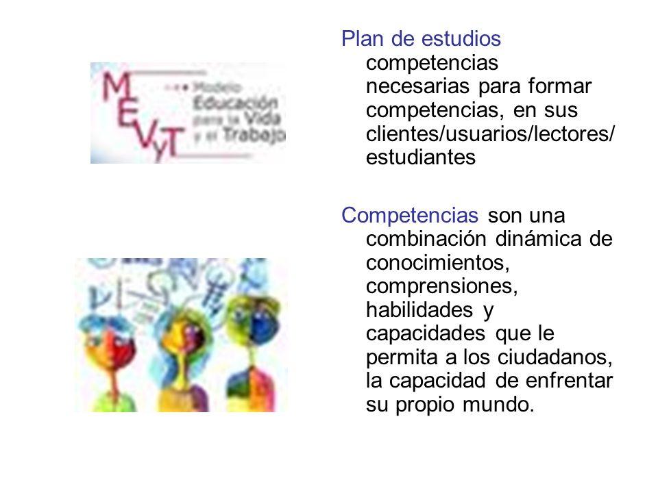 Plan de estudios competencias necesarias para formar competencias, en sus clientes/usuarios/lectores/ estudiantes Competencias son una combinación dinámica de conocimientos, comprensiones, habilidades y capacidades que le permita a los ciudadanos, la capacidad de enfrentar su propio mundo.