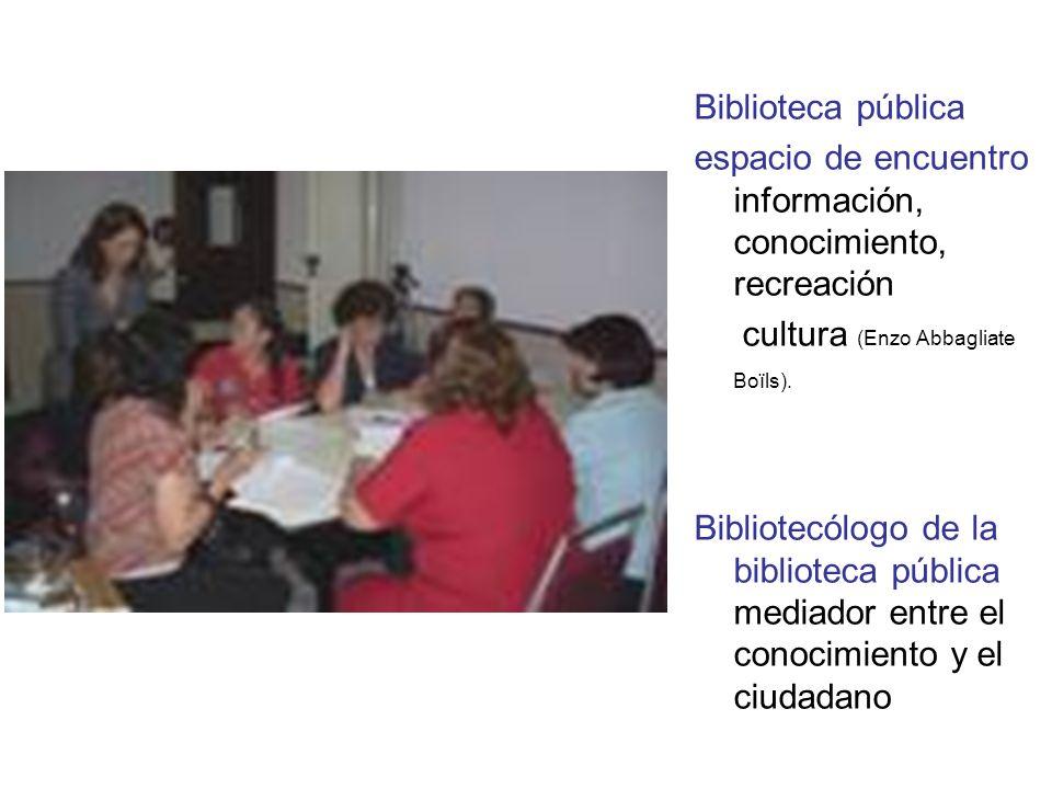 Biblioteca pública espacio de encuentro información, conocimiento, recreación cultura (Enzo Abbagliate Boïls).
