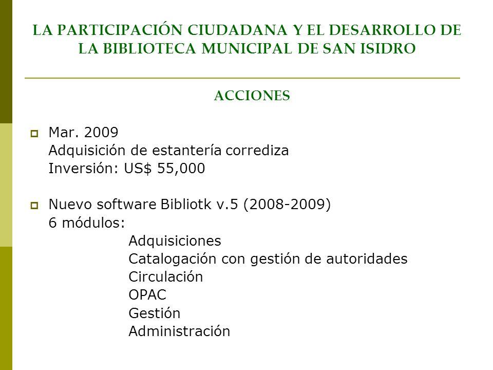 LA PARTICIPACIÓN CIUDADANA Y EL DESARROLLO DE LA BIBLIOTECA MUNICIPAL DE SAN ISIDRO ACCIONES Mar. 2009 Adquisición de estantería corrediza Inversión: