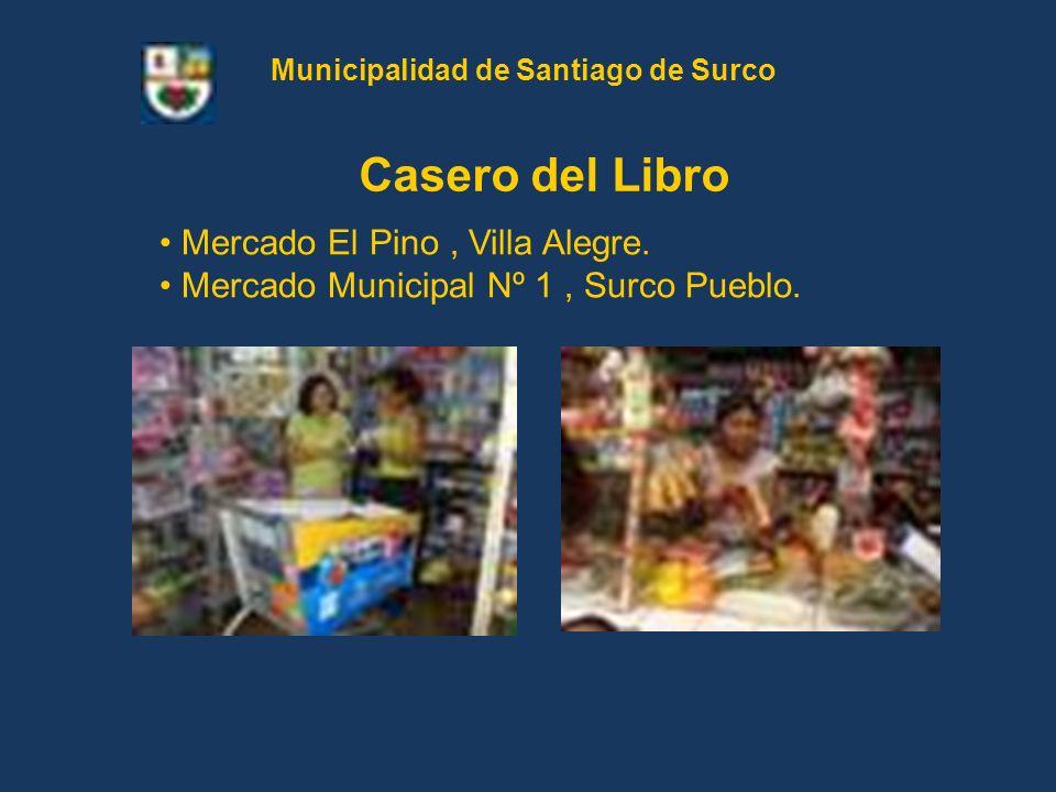 Mercado El Pino, Villa Alegre. Mercado Municipal Nº 1, Surco Pueblo. Casero del Libro Municipalidad de Santiago de Surco
