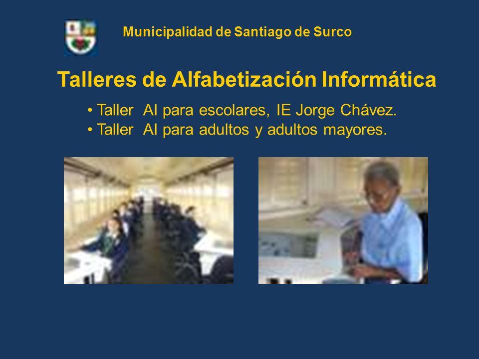 Taller AI para escolares, IE Jorge Chávez. Taller AI para adultos y adultos mayores. Talleres de Alfabetización Informática Municipalidad de Santiago