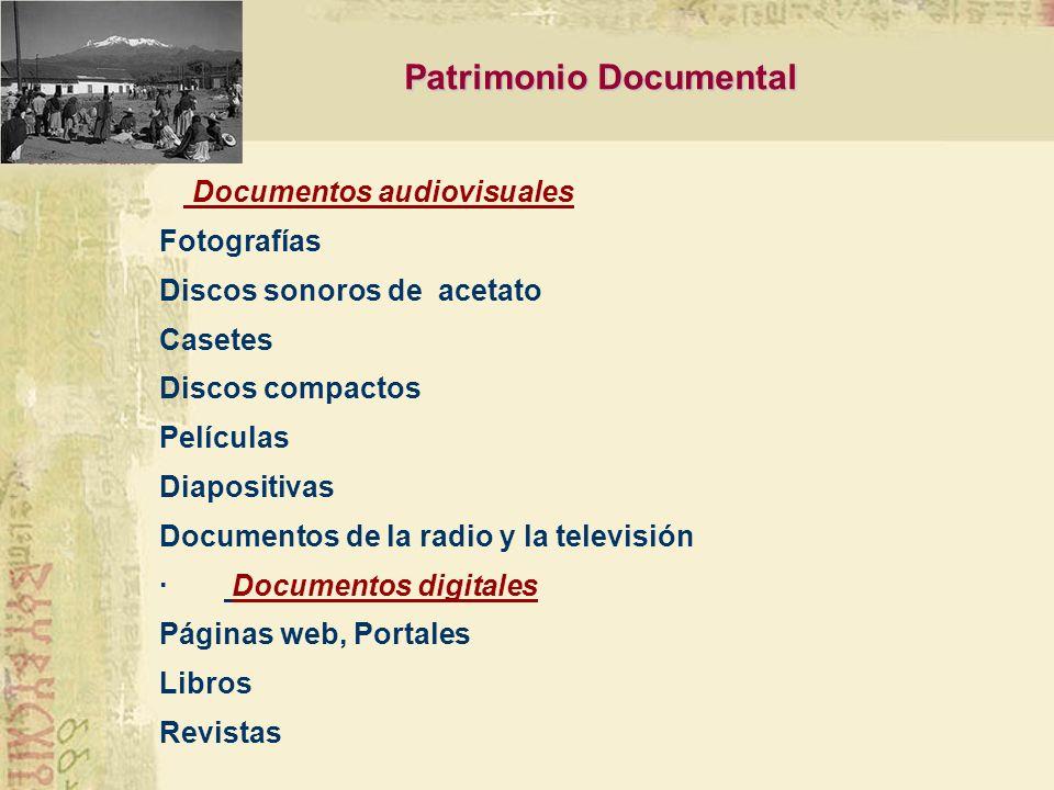 Documentos de archivo Administración pública Administración religiosa Archivos personales Organismos no gubernamentales Archivos de bibliotecas y otra